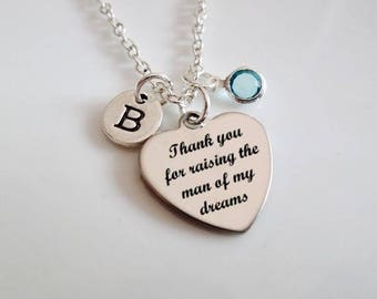 Thank you for raising the man of my dreams, Mother in Law necklace, Mother of the groom, gift from bride, gifts for Mother in law necklace