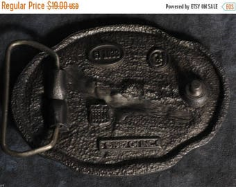 "S CJ 1033 Raised PHEASANT on Pewter 3.50""x 2.50 Belt Buckle for 2"" Belt Date 1987"