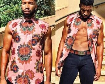 Men's Collared Sleeveless Shirt