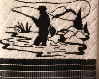 Embroidered Fly Fisherman Silhouette Towels . Set of 2.
