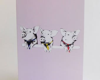 Political Pigs Greeting Card (Blank Inside, Envelope Included)