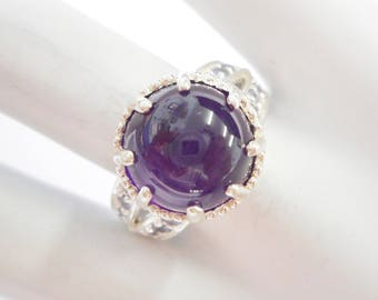 Ameythst Ring, Sterling Ring, Cabochon Amethyst, Silver Ring, Sterling Silver Cabochon Amethyst & Tanzanite Ring Sz 7.75 #3142