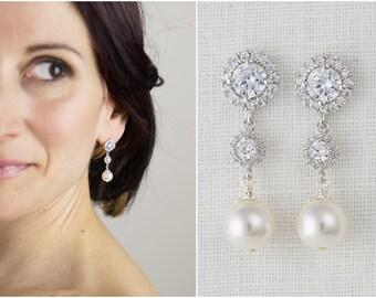 Pearl Bridal Earrings Bridal Drop Earrings Jewelry Dangle Wedding Earrings Costume Jewelry White Pearl Earrings Pearl Earrings