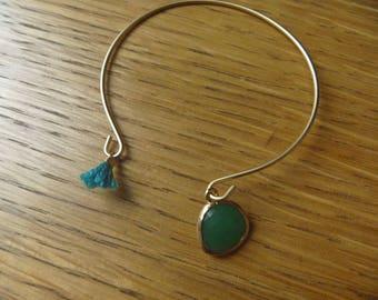 Gold Bracelet, green stone and tassel