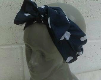 Handmade Navy Blue/White Polka-dot Tie Headband