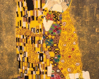 Bead embroidery kit, Kiss (Gustav Klimt), Needlepoint kit, Picture on the stretcher, DIY gift idea, bead patterns pictures, size: 30x40 cm