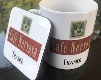 Frasier - Cafe Nervosa mug and coaster gift set