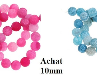 10 eight beads, jewelry beads, 10 mm, blue turquoise, fuchsia