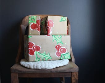 3 sheets of Hand Painted Christmas Holly Berry Wrapping Paper