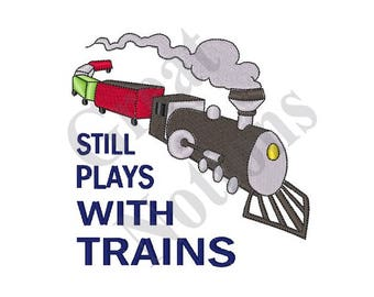 Plays With Trains - Machine Embroidery Design