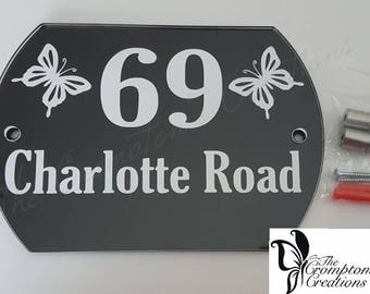 Convex Butterfly Convex House Number Sign, Choice of Black Or White Background, Wall Decor, Door Number, House Sign, Address Sign, Street