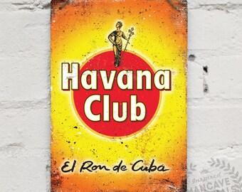 "Metal Replica Wall Sign ""Havana Club"". Mancave decoration Bar Pub Drink Rum"