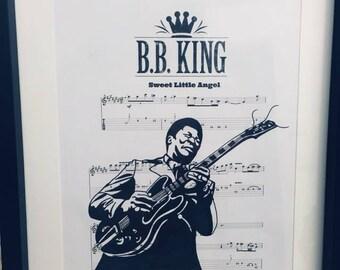 B.B King sheet music art