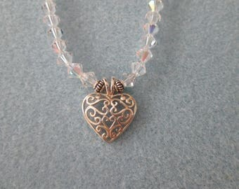Swarovski Clear AB Crystal Necklace w/Sterling Silver Heart Pendant