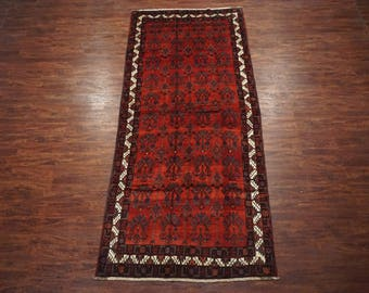 Vintage 5X10 Kurdish Gallery Runner - 1940's Hand-Knotted Wool Area Rug with Abrash - Persian Carpet (5.7 x 13.3)