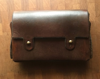 Handmade Leather Belt Pouch with Antique Brass Accents