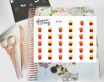 Fries Lover (French fries, curly fries) Hand Drawn Planner Stickers