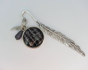 Bookmark with a round glass cabochon. Black and white Japanese paper.