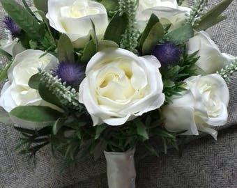 Scottish thistle, heather & rose hand tied wedding bouquet, teardrop bouquet bride, bridesmaid, flowergirl. Hand made in Scotland.