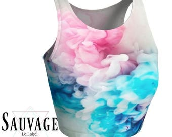 Pretty Floral • Athletic crop top • Festivals and yoga classes approved • handmade in Montreal - Xs to XL