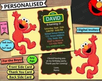 Elmo Invitations, Elmo Invite, Elmo Birthday Invites, Elmo Birthday Invitation, Elmo Birthday Invite, Sesame Street Invite, Elmo Thank You