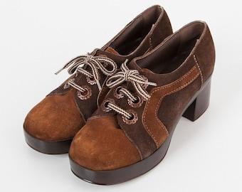 Vintage Brown Suede Platform High Heel Shoes/ Size 38