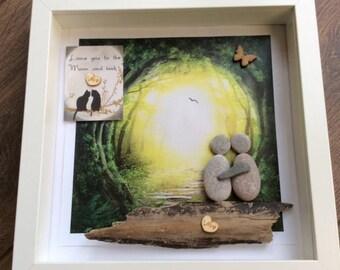 Pebble Art Couple, pebble Art gift, gift for her, gift for him, valentine gift, wedding gift, wedding anniversary gift, christmas gift