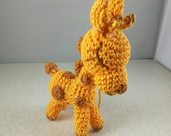 Crochet giraffe baptism favor box
