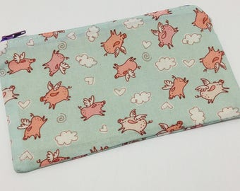 When Pigs Fly Novelty Zipper Pouch - makeup bag; pencil case; gift for her; cosmetic bag; carry all; gadget case;