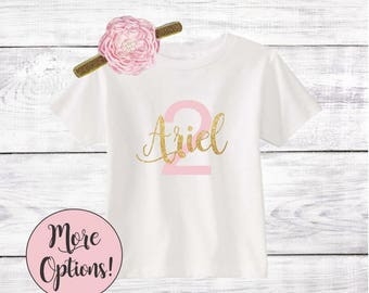 Personalized 2nd Birthday Outfit Girl One Toddler T-Shirt With Matching Headband Name Cake Smash Shirt Pink Lavender Navy Blue Gold Silver