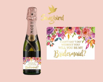 Will You Be My  Bridesmaid Matron of Honor Maid of Honor Mini Wine Champagne Bottle Label Proposal Gift Label Watercolor Floral Gold Black