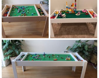 Kids LEGO® Table with Storage, train table, activity table, Building blocks table, stuffed animal zoo, not the trademarked company LEGO®