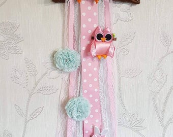 Hand made ribbon Owl hair bow holder and  matching clip set
