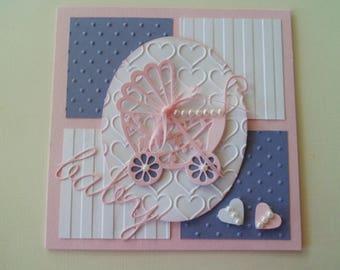 Custom Baby card, Handmade greeting card, Handmade Baby Girl Card,  Pink Baby Carriage card, Baby Shower card, Expectant Mother card