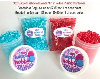Blue or Red Fishbowl Colored Beads for Slime Making 3oz Each Bag
