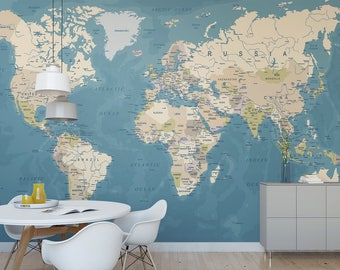 World map removable wallpaper peel and stick map wall sticker world map temporary wall mural political map removable wallpaper globe self adhesive wall mural gumiabroncs Choice Image