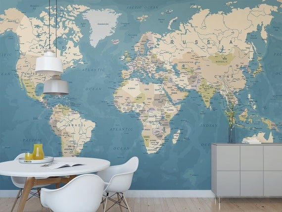 World map temporary wall mural political map removable like this item gumiabroncs Image collections