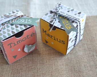 Box dragees for baptism or annviersaire Fox - orange or yellow pattern