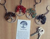Tree of Life good luck birthstone gift birth month keyring keychain bag accessories chakra nature birthday gift spiritual talisman