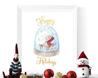 Happy Holidays Printables   Polar Bear Snowglobe Happy Holidays Printable   Holidays Decor    Holiday Decorations   Digital Download