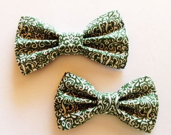 Bow Tie,Mens Bow Tie, Dad and Son Bow Ties, Green Bow Tie, Father Son Bow Ties, Groomsmen Bow Tie, Paisley Bow Tie,  Boys Bow Tie  DS739