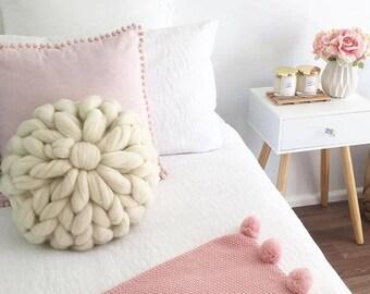 Cushion, Merino Wool Cushion, Round Cushion, Chunky Knit Cushion, Cushion with Insert, Pillow, Decorative Pillow, Handmade cushion, decor