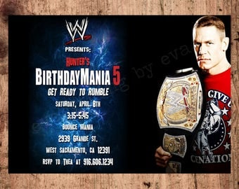 Personalized WWE Wrestling Invitation, John Cena Invitation, WWE
