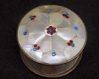 Vintage Mother of Pearl and Brass Pill Box Trinket Box