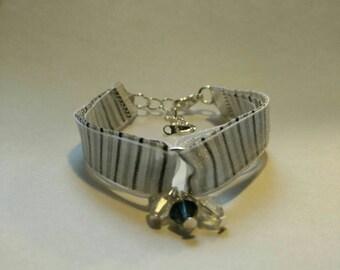 Navy satin ribbon and organza white bracelet