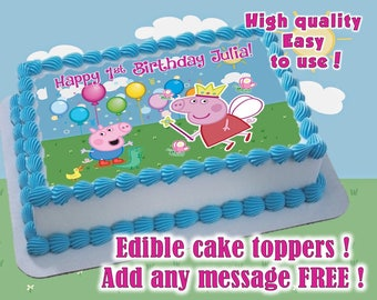 Peppa Pig Birthday cake toppers, edible print. Sugar sheet decoration party supplies, Baby Showers cake topper