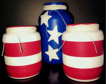 Hand painted Stars and Stripes jars