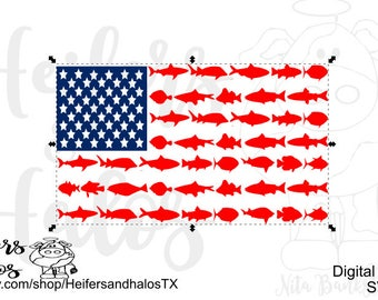 Shark and fish flag svg cut file for cricut and silhouette cameo, t-shirts, decals, yeti cups - 4th of July, Independence Day, patriotic