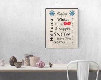 Enjoy Winter Print, INSTANT Download, Subway Art, Word Art