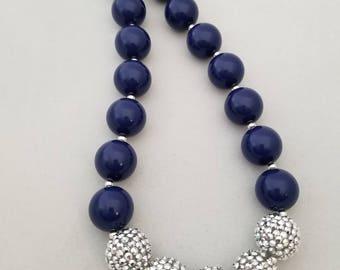 Bubblegum bead necklace, toddler necklace,  navy blue
